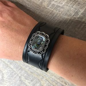 Abalone Shell Leather Cuff Bracelet